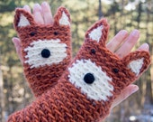 Fox Fingerless Gloves (Chili) ~ Handmande