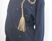80s Jacket / Equestrian / Equestrian Jacket / Tassel / Tassel Jacket / Black Gold / Black Jacket / Statement / Preppy / Bomber Jacket