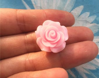 10pc 20mm pink resin rose flower cabochon/cameo charms-1.3mm hole