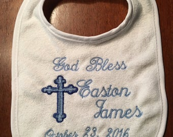 Baptism bib, Personalized baby bib, Christening, Baptism, baby gift, any thread color, white bib