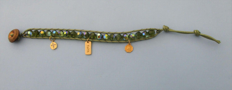 Handmade Religious Leather Wrap Bracelet  Green Crystal Wrap Bracelet   Beaded Bracelet  Boho  Religious Charms  Catholic Jewelry