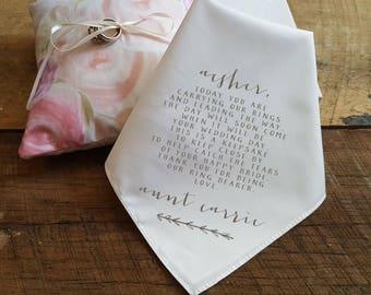 Wedding Handkerchief for the  RING BEARER. Wedding Handkerchief. Printed Handkerchief. Ring Bearer. Branch Detail