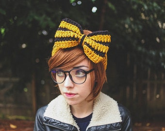 Hufflepuff - Handmade Crochet Hogwarts Harry Potter Bow Headband
