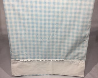 Vintage, flat, double, full, sheet, green sheet Gingham pattern, or checkered, retro bedding, green, vintage sheet, checker pattern