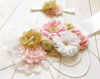 Pink and gold maternity sash,pregnancy sash, baby shower sash,maternity belt, pink white and gold sash, pink gold newborn headband,mom to be