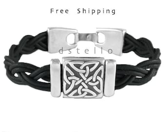 Men's bracelet, celtic knot leather bracelet, celtic jewellery cuff, Irish scottish, gaelic gift, antiqued silver plated,