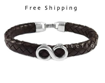 Infinity Symbol, eternity love jewelry, leather bracelet, custom made, brown, black, gift, Antique look, Spanish leather, Men cuff