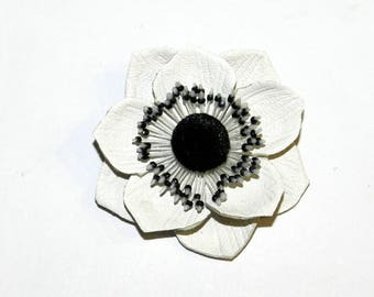 Leather flower Anemone brooch, genuine leather flower brooch, Anemone brooch