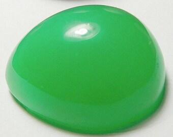 Chrysoprase designer cab glowing green AAA+  maraborough  drop 32.97 ct.