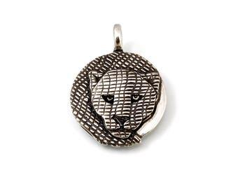 Sterling Silver, Jaguar, Jaguar Totem, Jaguar Pendant, Jaguar Jewelry, Jaguar Necklace, Shaman, Shamanism, Panther Jewelry, Panther, 1095j