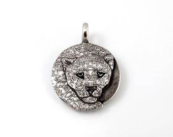 Sterling Silver, Jaguar, Jaguar Totem, Jaguar Pendant, Jaguar Jewelry, Jaguar Necklace, Shaman, Shamanism, Panther Jewelry, Panther, 1095i