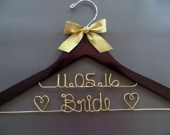 Gold Wire Hanger, Two Line Wedding Dress Hanger, Date Hanger, 2 Line Wedding Hanger, Bride Dress Hanger, Personalized Hanger, Shower Gift