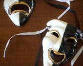 "Tragedy/Comedy"" Hand Painted Wall Masks/Signed/Vintage/Gold Black, White/Ribbons"