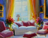 FRENCH INTERIOR, original oil painting, yellow and purple, French furniture, sunlit room
