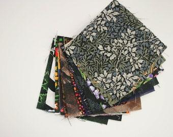 "Fabric Bundle, Quilting Squares, 4 x 4"" BLACK, Pack of 15"