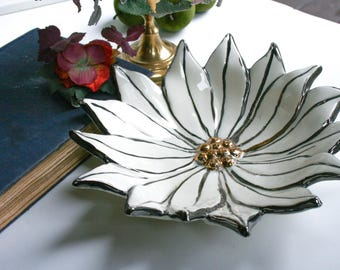 Retro Kitschy  Holidays, Hand Painted Poinsettia Candy Dish, White Silver & Gold Center