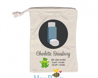 Personalised Inhaler Bag - Personalized Medication Bag for School, Nursery, Childcare, Kindergarten, Preschool. Custom design for kids.
