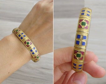 15% SALE (Code In Shop) - Vintage 70's Gold Turkish Tile Geometric Enamel Bangle