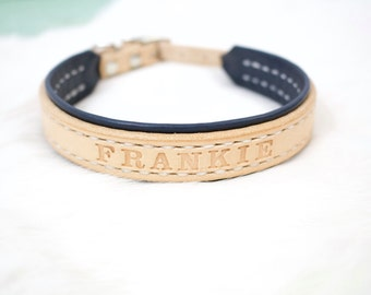 Lined Custom Leather Cat Collar with Personalized Name