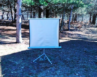 Vintage Projector Screen with Stand - Montgomery Wards Projector Screen - Vintage Movie Projector Screen