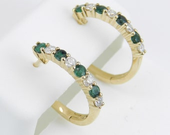Diamond and Emerald Hoop Earrings 14K Yellow Gold Hoops Wedding Birthday Gift