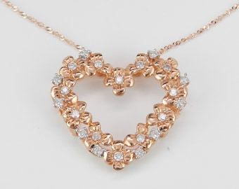 """Diamond Heart Pendant 14K Pink Rose Gold Flower Cluster Necklace Chain 18"""""""