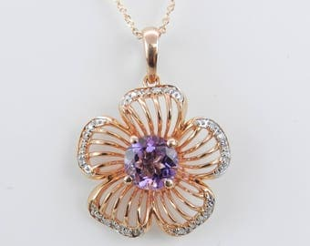 "Diamond and Amethyst Flower Necklace Pendant 14K Rose Gold 18"" Chain February Birthstone"