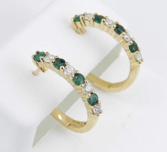 Diamond and Emerald Hoop Earrings 14K Yellow Gold Hoops Wedding Birthday Gift