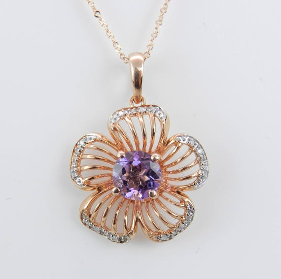 """Diamond and Amethyst Flower Necklace Pendant 14K Rose Gold 18"""" Chain February Birthstone"""