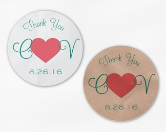 Initials and Heart Wedding Favor Stickers - Teal and Rose Pink Custom Candy Buffet White, Kraft Round Labels for Bag Seals, Envelopes (2033)