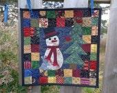 Scrappy Snowman Little Quilt, Winter Quilt, Little quilt 1114-03