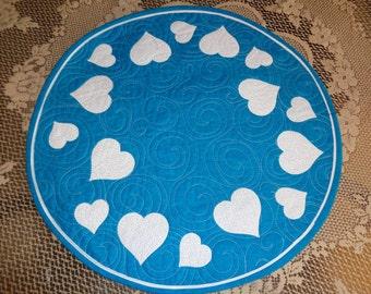 Teal little quilt, Hearts circle quilt 0108-03