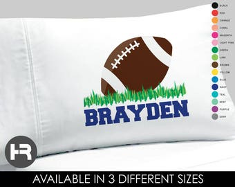 Football Pillowcase - Boys Personalized Football Pillow case - Standard Personalized Pillowcase - Football Bedding - Football Birthday Gift