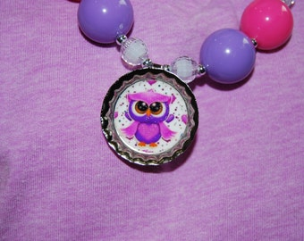 Girls Chunky Owl Necklace