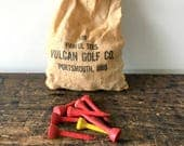 Vintage Bag Of Parful Golf Tees By Vulcan Golf Co. Portsmouth, Ohio