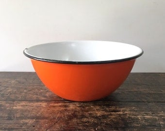 Vintage Orange Graniteware Bowl, Mixing Bowl, Enamelware