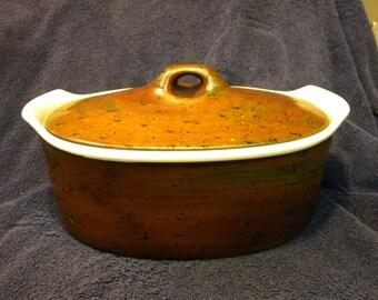 scarce coq STIG lindberg for GUSTAVSBERG SWEDEN brown mottled glaze casserole
