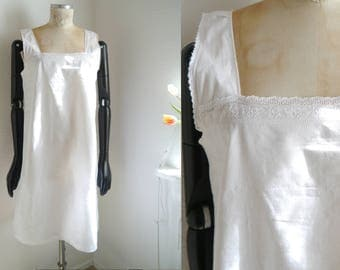 Antique Dress White cotton nightgown Mid lenght Underwear Lingerie Dress Romantic country dreamy summer night dress farmhouse linens