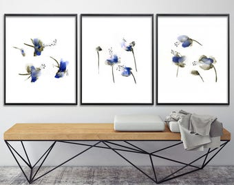 Blue Flower  Watercolor Print Set Abstract Botanicals gift for her art for bedroom 8x10 or 11x14, nursery art, express shipping