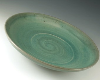Ceramic Stoneware Serving Bowl - Ceramic Bowl - Pottery Celedon Green Pasta Bowl - Fruit Bowl - B108