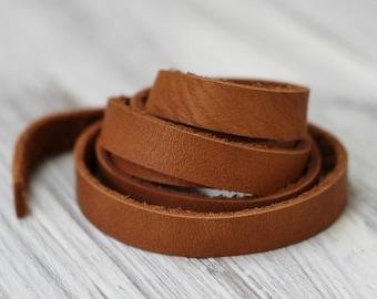 7-10mm Brick  Genuine Leather Strap,  Brown Cowhide  1 Yard