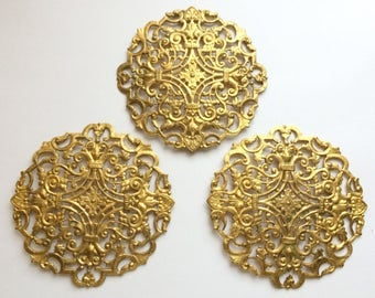 Large Filigree Compact Top, Brass Filigree, Raw Brass, Brass, Vintage Supplies, Us Made, Nickel Free, Bsue Boutiques, 83mm, Item02157