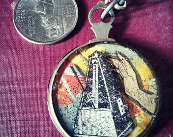 """OOAK upcycled pendant """"IV - The Tower"""""""