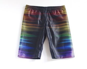 Boys Black Swimming trunks, swim shorts with a sound wave pattern down the legs.