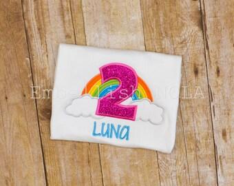 Rainbow Number Appliqued Birthday Shirt