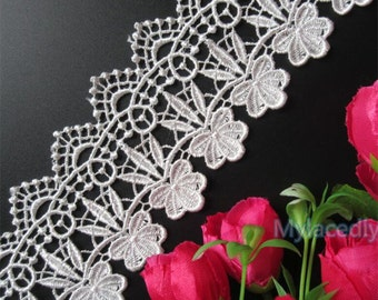 2 5/8 inch wide  Flower Embroidered Lace Edge Trim 1 yard and 21 inch cut