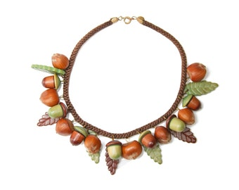 1940s Miriam Haskell Wood Acorn and Leaf Necklace