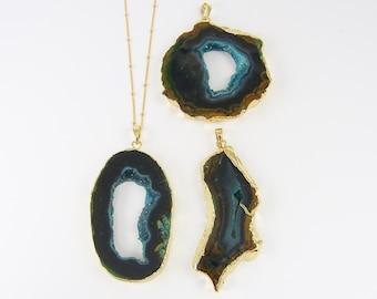 Brown Blue Druzy Necklace, Agate Slice Necklace, Brown Geode Necklace, Raw Crystal Necklace |NC2-14