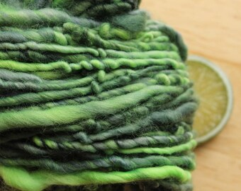 Envy - Hand Dyed Handspun Merino Wool Yarn Bulky Green Navy Grey