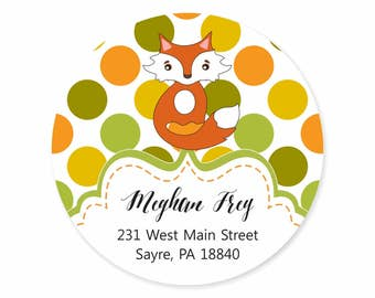 Fox Fall Polka Dot Personalized Address Labels Stickers / Happy Fall / Autumn